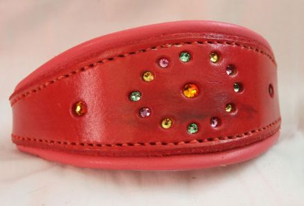 Hand-Made Bridle Leather Crystal Inset Italian Greyhound Collar (Red)